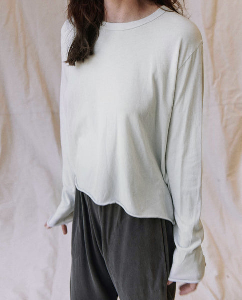 The Long Sleeve Crop Tee. -- Ice Green