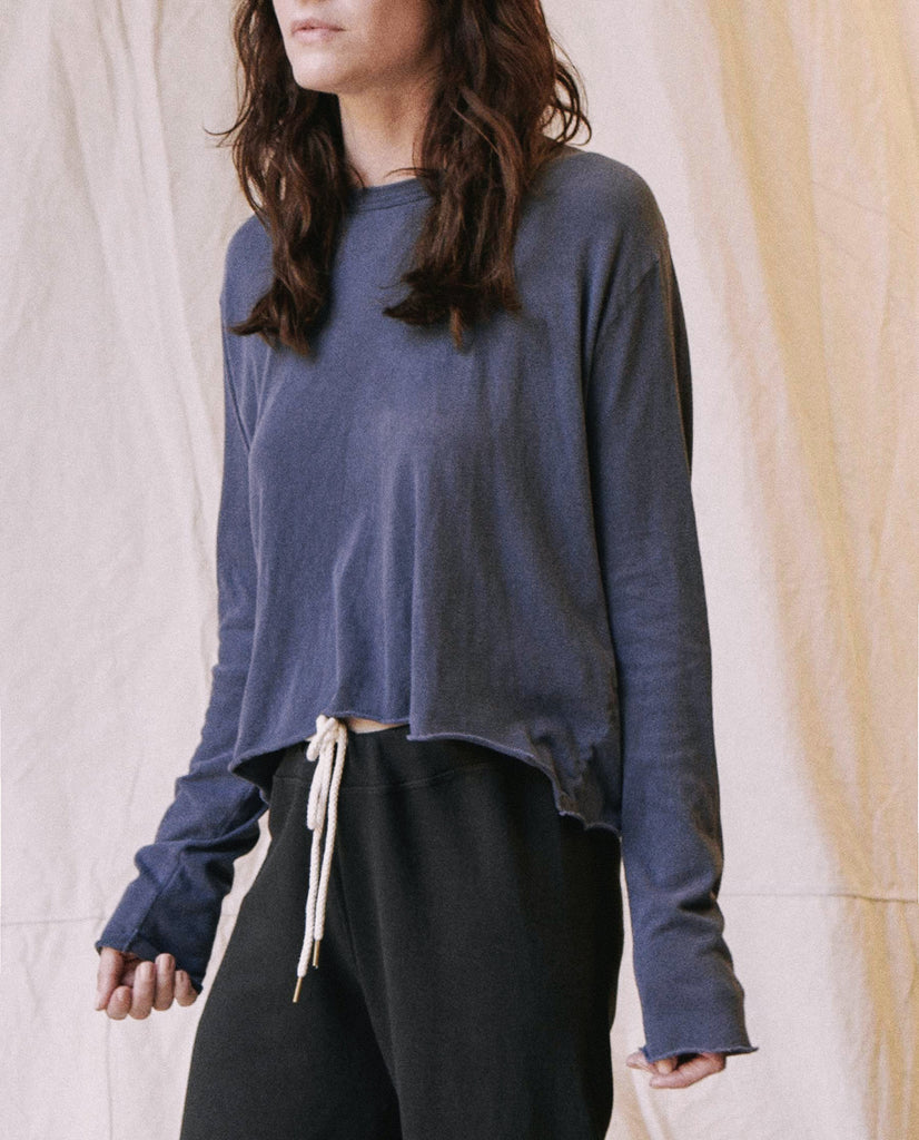 The Long Sleeve Crop Tee. -- Mottled Blue