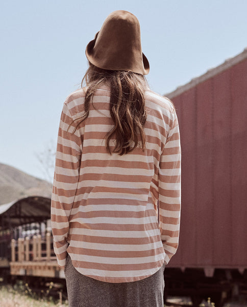 The Long Sleeve Round Hem Tee. -- BLUSH STRIPE
