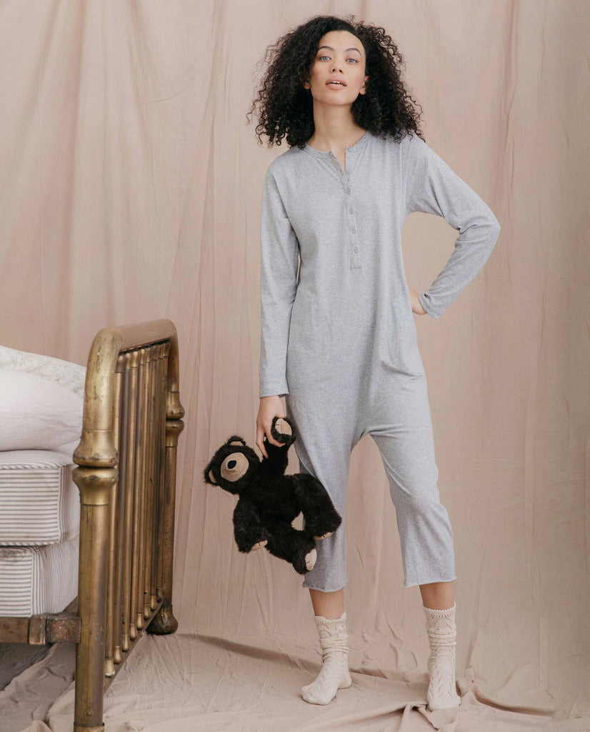 The Long Sleeve Sleeper Jumpsuit. -- LIGHT HEATHER GREY