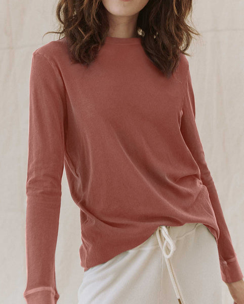 The Long Sleeve Slim Tee. Solid -- VINTAGE DUSTY ROSE