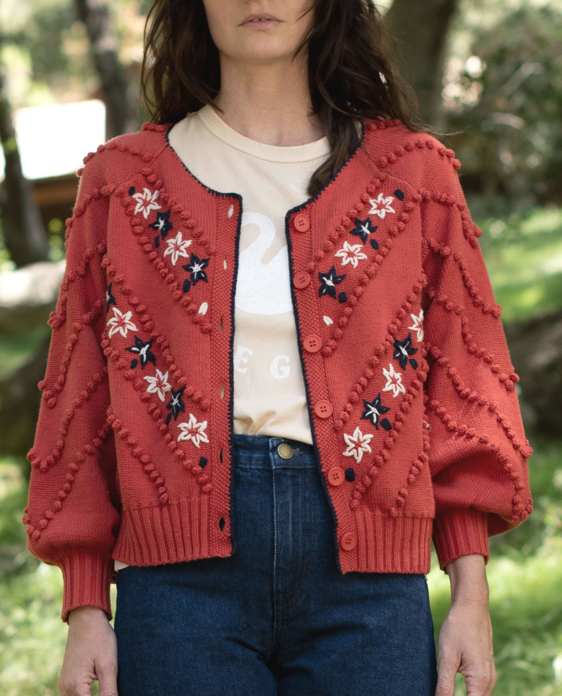 The Meadow Bobble Cardigan. -- REDWOOD