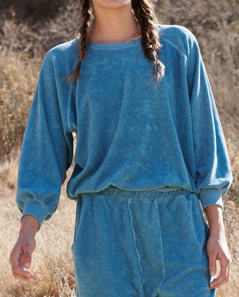 The Micro Terry Bubble Sweatshirt. -- TURQUOISE