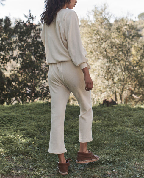The Micro Terry Pajama Sweatpant. -- WASHED WHITE