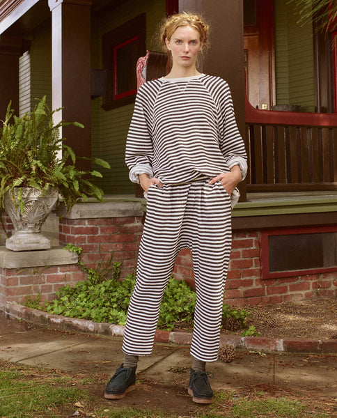 The Pajama Sweatpant. -- BLACK STOCKING STRIPE