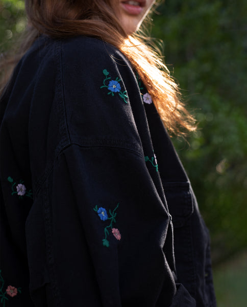 The Pilot Jacket. -- ALMOST BLACK WITH MULTI FIELD FLORAL EMBROIDERY