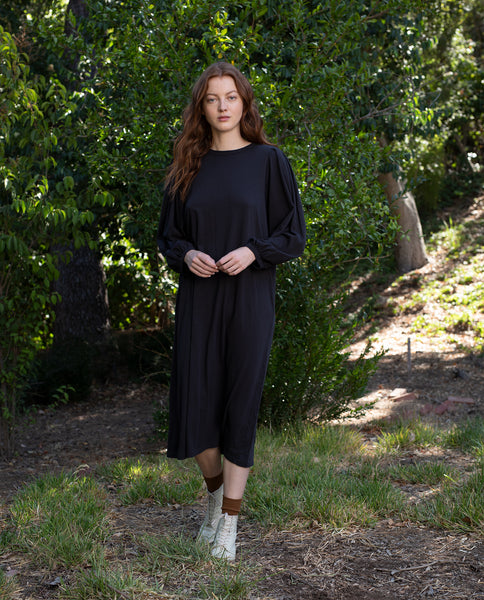 The Pleat Sleeve Dress. -- ALMOST BLACK