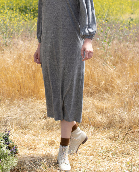 The Pleat Sleeve Dress. -- HEATHER GREY