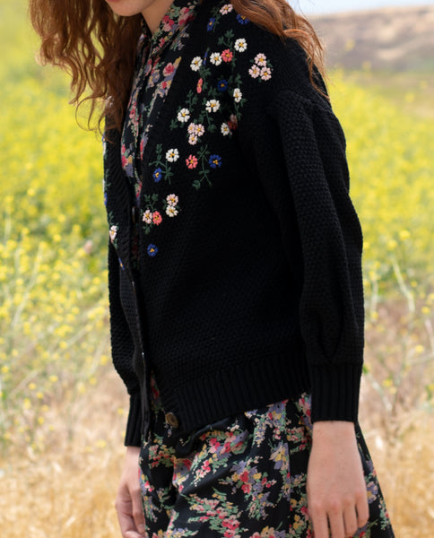 The Pleat Sleeve Embroidered Cardigan. -- BLACK