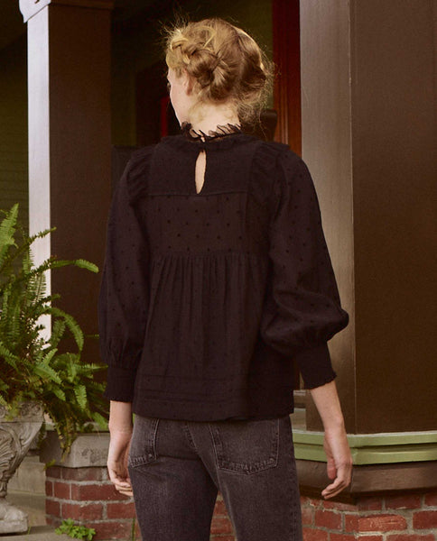 The Portrait Top. -- BLACK FLOCKED DOT
