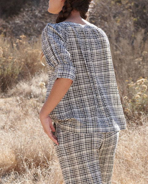 The Puff Sleeve Button Up. -- PATCHWORK PLAID