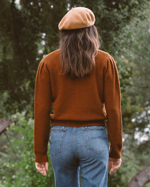 The Puff Sleeve Cardigan. -- COPPER