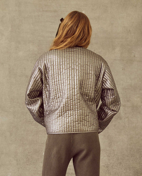 The Quilted Metallic Bomber. -- Silver