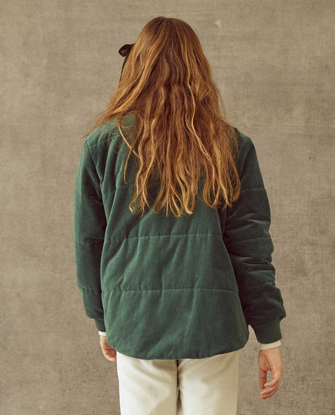 The Quilted Velvet Puffer. -- Emerald