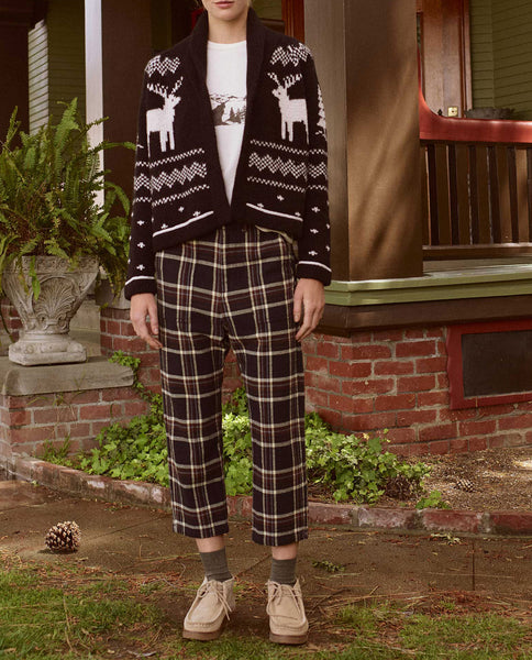 The Reindeer Lodge Cardigan. -- BLACK AND CREAM