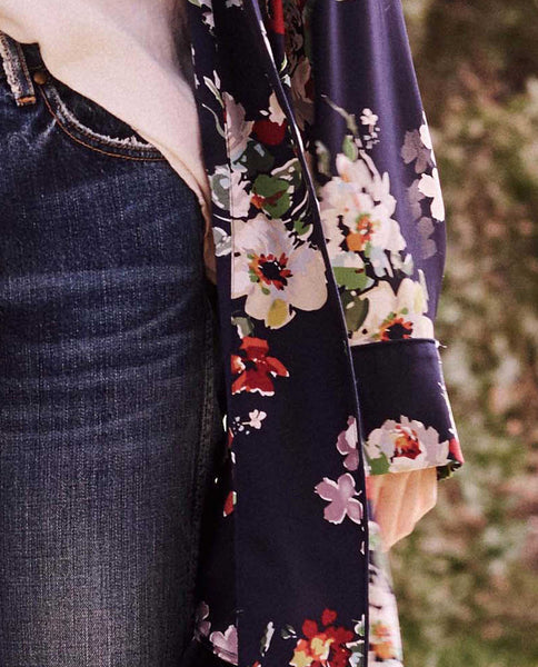 The Robe Jacket. -- Nightfall Floral Print