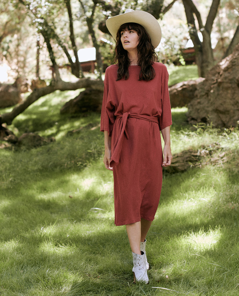 The Robe Sleeve Dress. -- BRICK RED