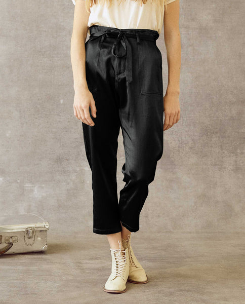 The Satin Convertible Trouser. -- Black