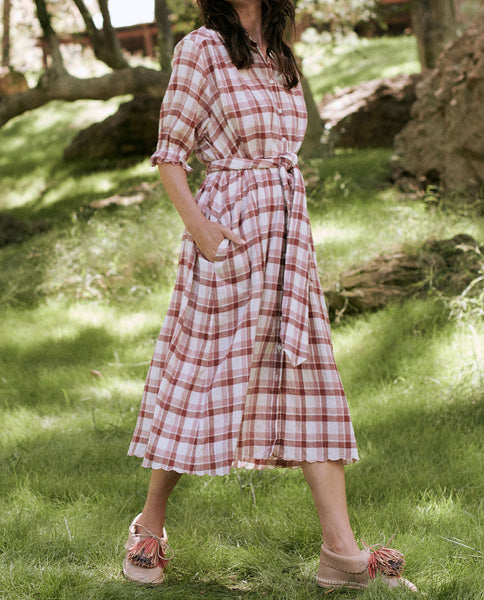 The Scallop Kerchief Dress. -- BRICK RED PLAID