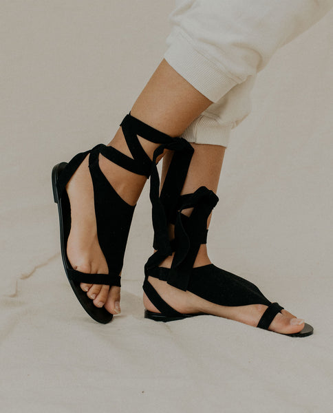 The Scarf Tie Sandal. -- Black