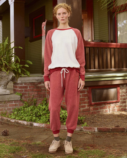The Sherpa Cropped Sweatpant. -- POINSETTIA