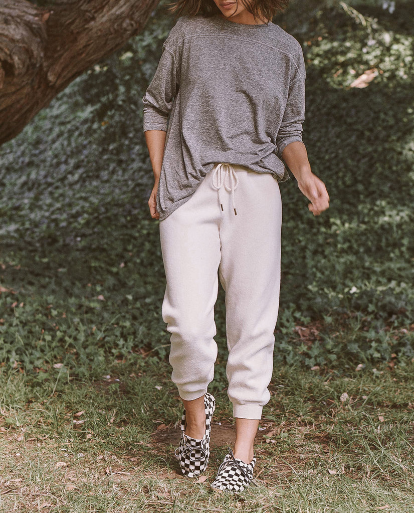 The Sherpa Cropped Sweatpant. -- WASHED WHITE