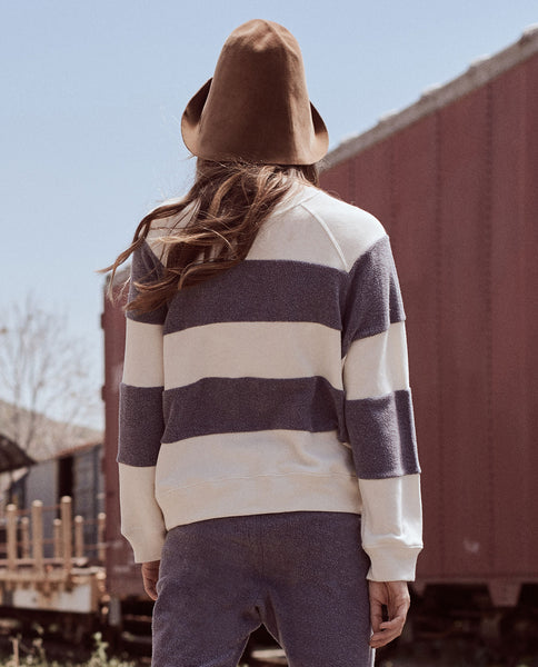 The Sherpa Stripe Slouch Sweatshirt. -- ENGINE BLUE AND CREAM