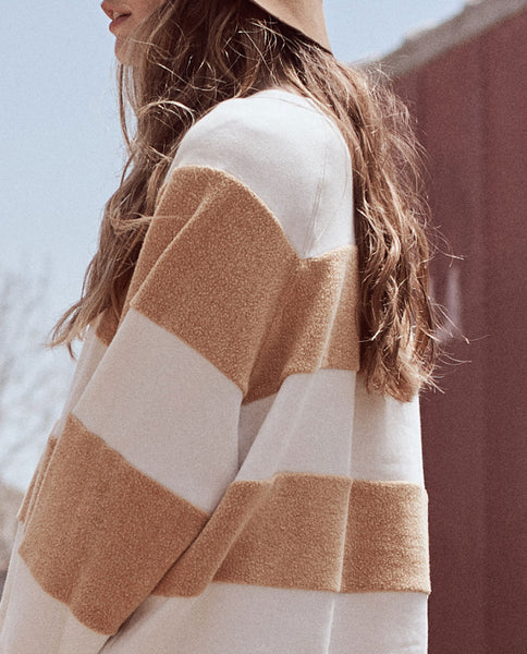 The Sherpa Stripe Slouch Sweatshirt. -- GOLDENROD AND CREAM