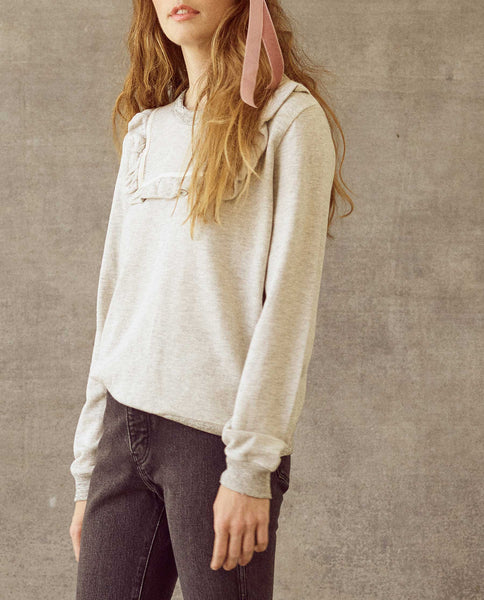 The Shrunken Bib Sweatshirt. -- Heather Grey