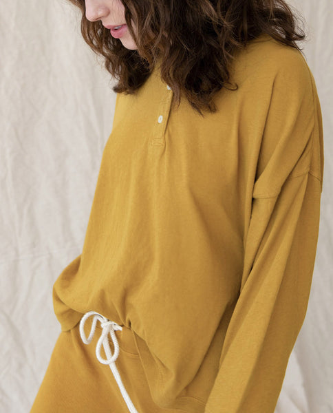 The Shrunken Henley. Solid -- BUTTERSCOTCH