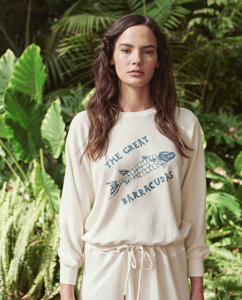 The Shrunken Sweatshirt. -- Washed White With Barracuda Graphic