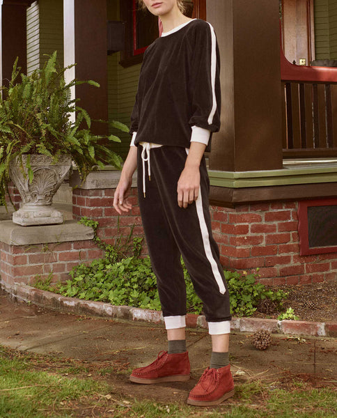 The Side Stripe Cropped Sweatpant. -- ALMOST BLACK