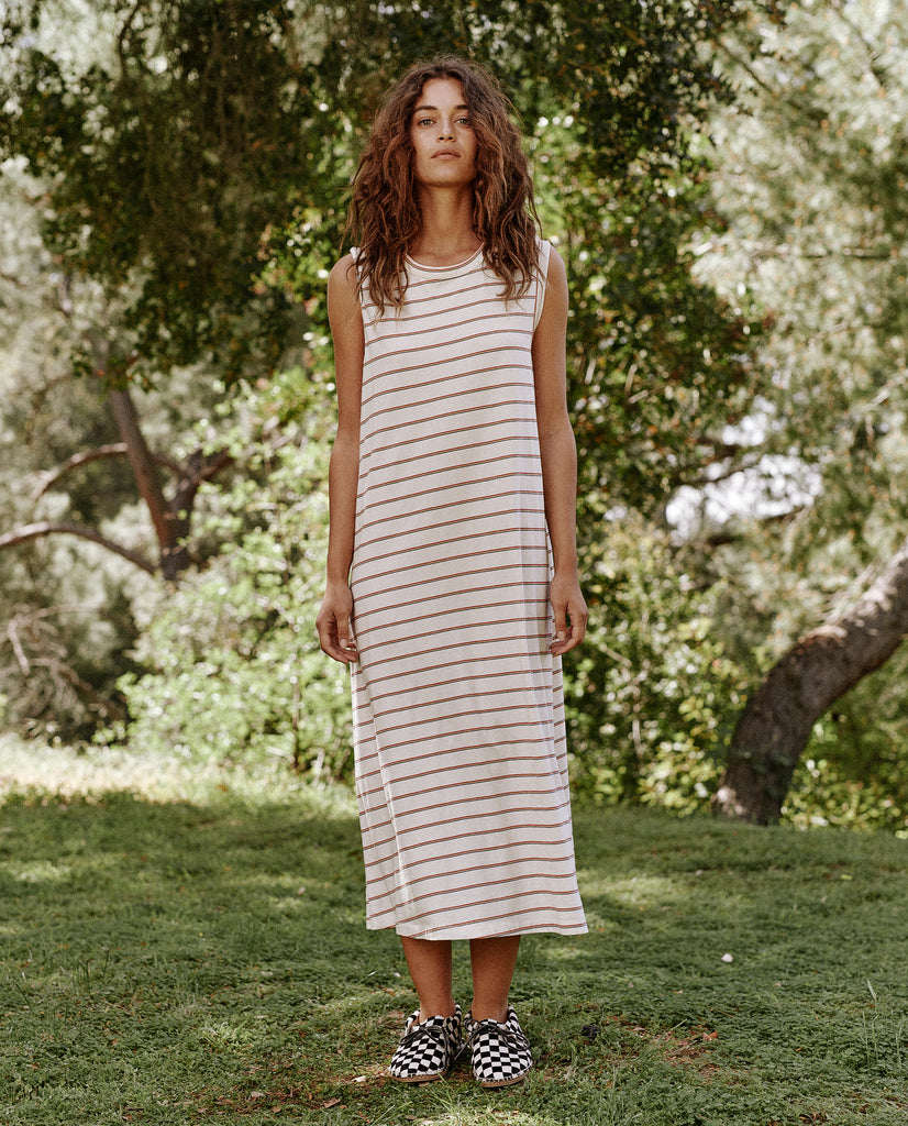 The Sleeveless Crew Dress. -- THE MULTI SKINNY STRIPE