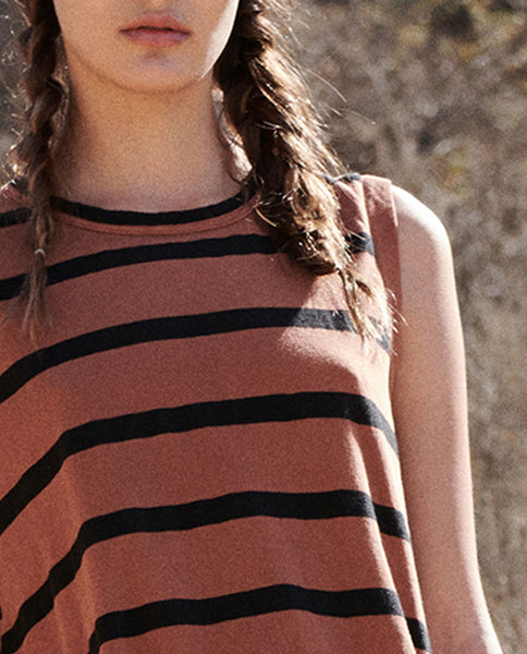 The Sleeveless Crew. -- RUST STRIPE