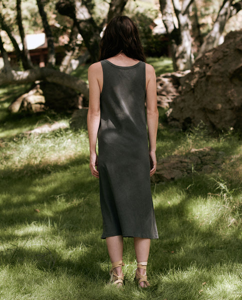 The Slim Henley Tank Dress. -- WASHED BLACK