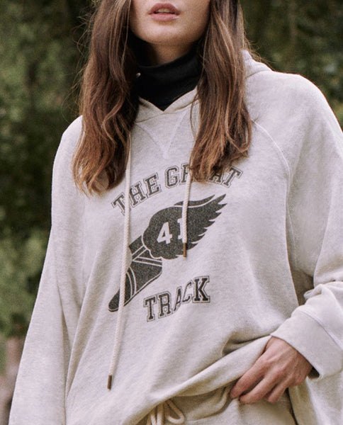The Slouch Hoodie. Graphic -- FADED OATMEAL WITH TRACK GRAPHIC