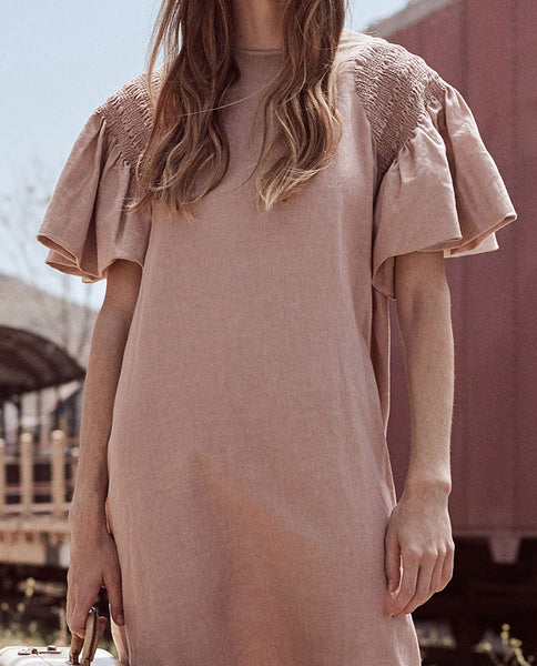 The Smocked Sleeve Dress. -- BLUSH