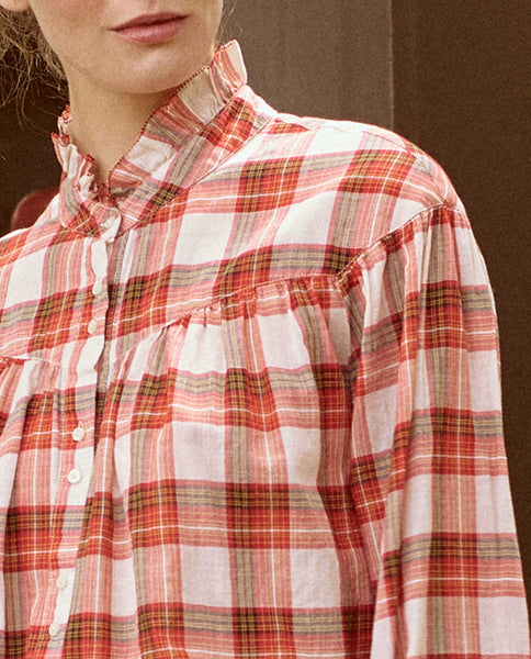 The Snow Cap Button Up. -- POINSETTIA PLAID