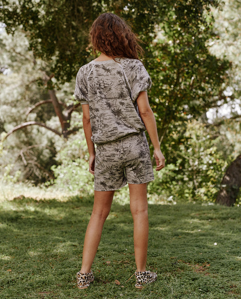 The Sweat Short. -- Light Heather Grey With Black Palm Print