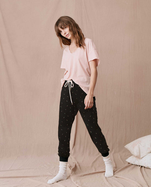The Thermal Cropped Sweatpant. -- ALMOST BLACK ROSEBUD