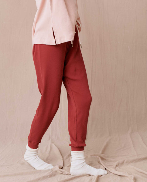 The Thermal Cropped Sweatpant. -- CRIMSON