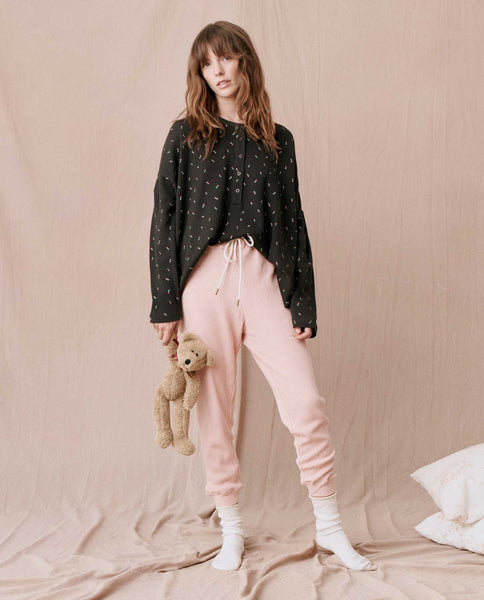 The Thermal Cropped Sweatpant. -- ROSE DUST