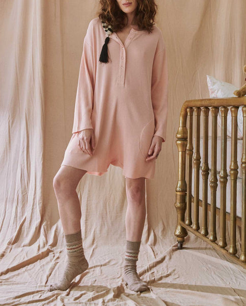 The Thermal Henley Romper. -- ROSE DUST