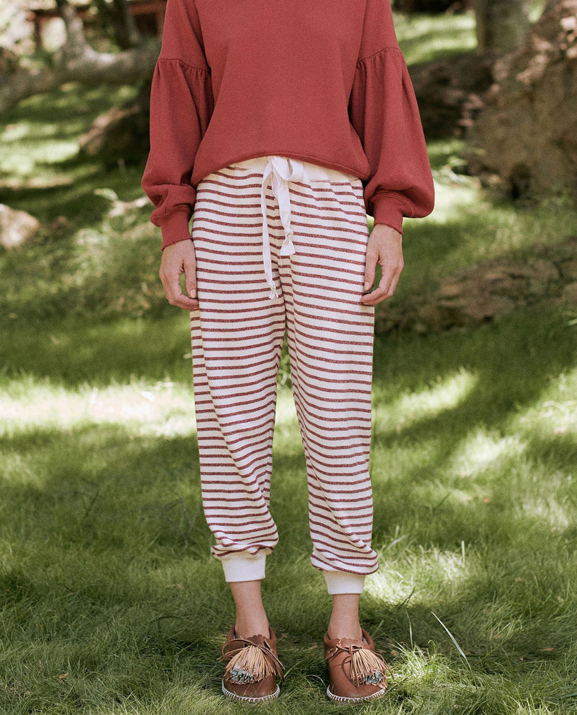 The Tie Sweatpant. -- BRICK RED STRIPE