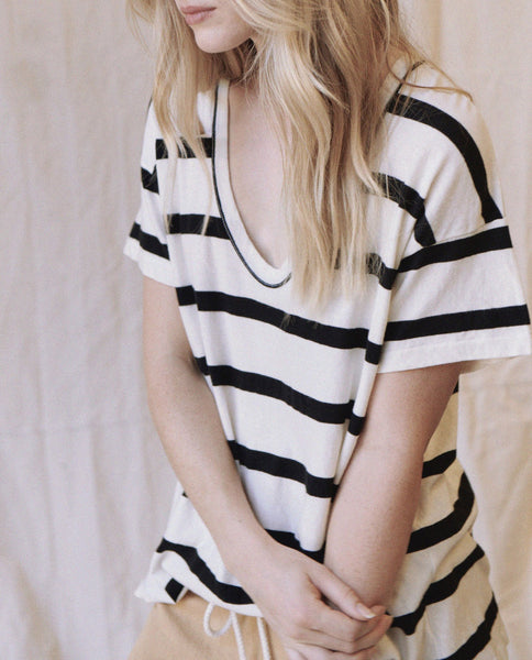 The U-Neck Tee. -- PREP STRIPE