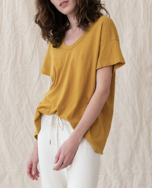 The U-Neck Tee. Solid -- BUTTERSCOTCH