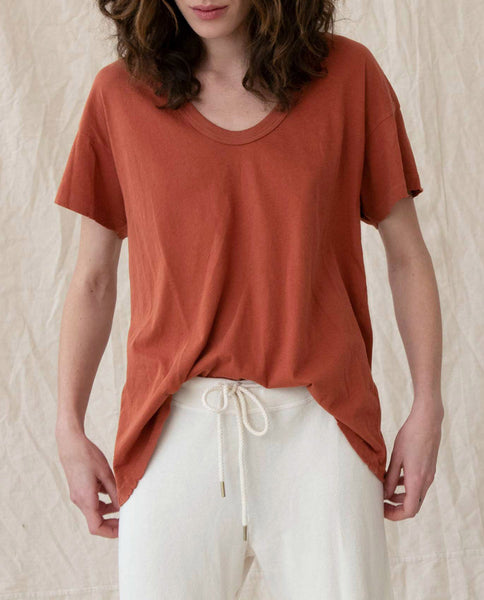 The U-Neck Tee. Solid -- MAPLE