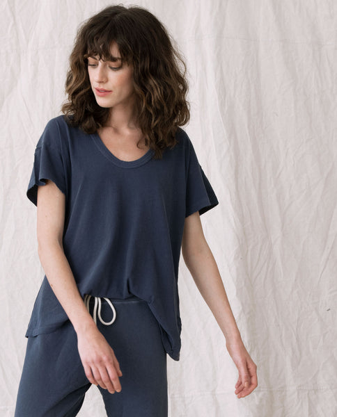 The U-Neck Tee. Solid -- WASHED NAVY