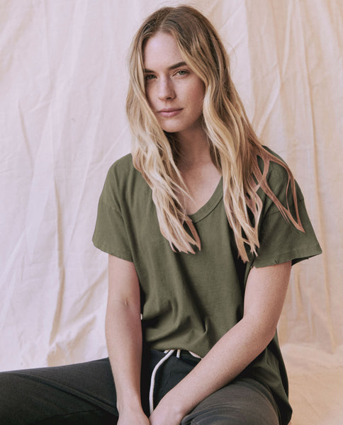 The U-Neck Tee. Solid -- OLIVE