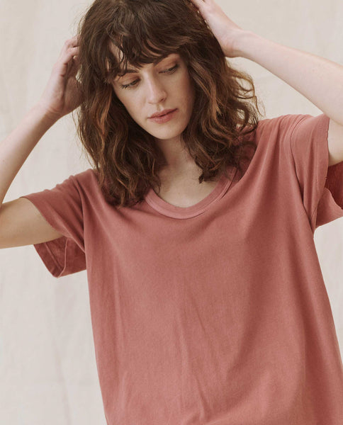 The U-Neck Tee. Solid -- VINTAGE DUSTY ROSE